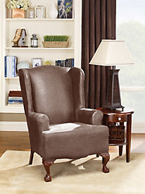 Stretch Leather Wing Chair Slipcover