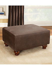 Stretch Leather Ottoman Slipcover by linensource