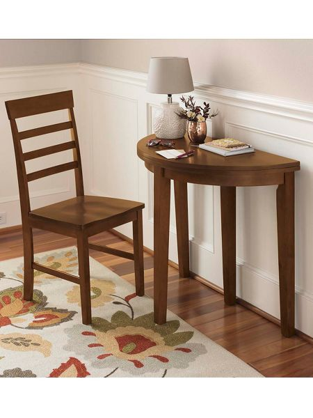 Half Moon Flip Table Small Space Dining Gold Violin