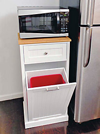 Microwave Cart with Wastebasket Holder