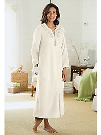 Embroidered Zip Front Robe