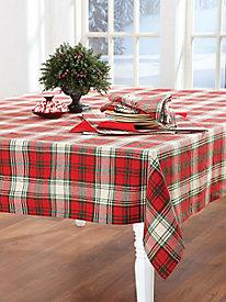 Christmas Plaid Round Tablecloth