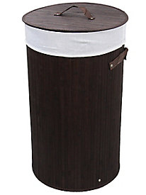 Round Folding Bamboo Laundry Basket