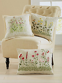 Ribbons of Wildflowers Decorative Pillows