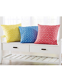 Embroidered Eyelet 18'' Square Decorative Pillow