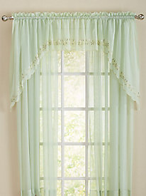 Embroidered Sheer Curtain Valance & Swag