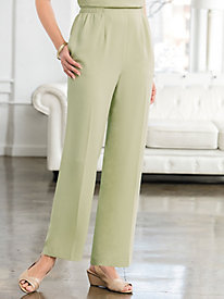 Textured Stretch Crepe Flat Front Pants