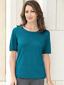 Short Sleeve Jewel Neck Shimmer Sweater