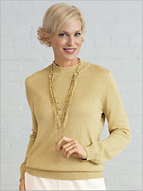 Long Sleeve Mock Neck Shimmer Sweater