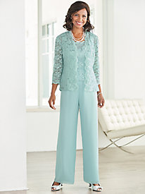 Radiant Lace Twin Set & Chiffon Pants by Alex Evenings