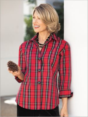 Women's Tartan Plaid Shirt by Foxcroft | Drapers & Damons