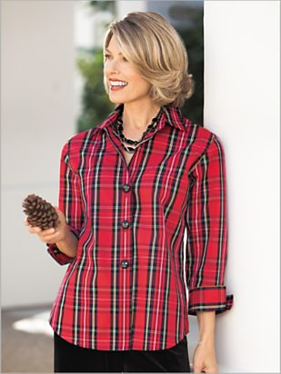 Women's Tartan Plaid Shirt by Foxcroft | Drapers & Damons