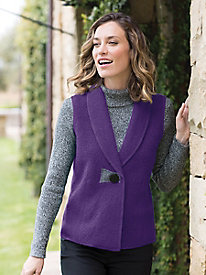 Women's Boiled Wool Snap Vest by Norm Thompson