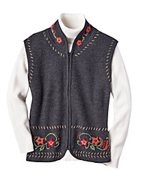Women's Embroidered Boiled Wool Vest