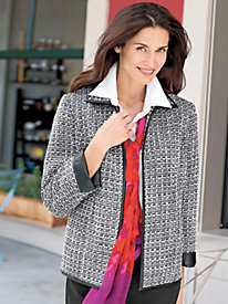 Women's Black & White Tweed Jacket