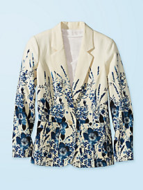 Women's Blue Bouquet Boyfriend Jacket