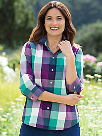Women's Foxcroft Non-Iron Plaid Shirt