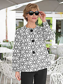 Women's Black & White Geometric Swing Jacket