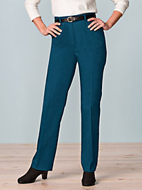Women's Invisible-Fit Twill Pants | Natural Fit