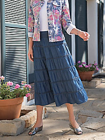 Women's Denim Crinkle Skirt