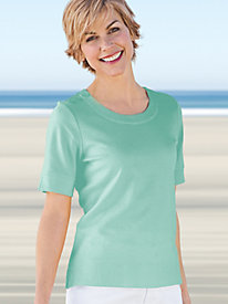 Women's Button-Trim Prima Cotton Top