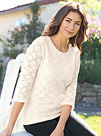 Women's 3/4-Sleeve Lace Knit Tee