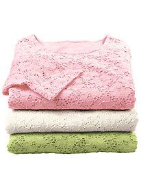 Women's 3/4-Sleeve Lace Knit Tee