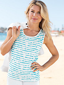 Women's Prima Cotton Painted Stripe Tank