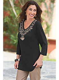 Women's Embroidered V-Neck Tunic