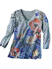 Women's Crinkle Flower V-Neck Top