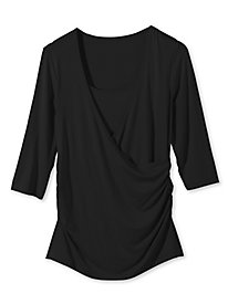 Women's Side-Ruched Faux-Wrap Shirt