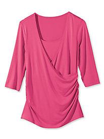 Women's Side-Ruched Faux-Wrap Shirt