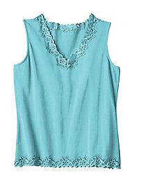 Women's Prima Cotton Lace-Trimmed Tank
