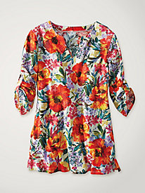 Women's Flower Splash Cuffed Tunic
