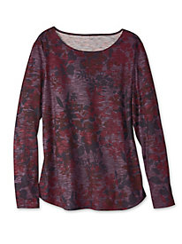 Women's Shadow-Floral Knit Tee