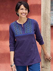 Women's Embroidered Yoke Tunic Tee