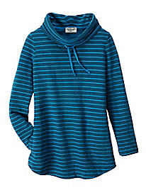 Women's French Terry Strip Cowl Neck Sweatshirt