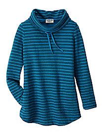 Women's French Terry Strip Cowl Neck Sweatshirt