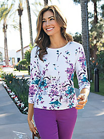 Women's Painterly Blooms Knit Top