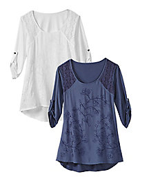 Women's Graceful Lace Embroidered Tunic