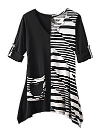 Women's Black & White Colorblock Knit Tunic