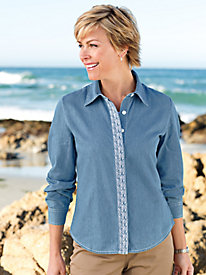 Women's Embroidered Chambray Shirt