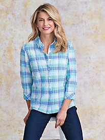 Women's Pastel Plaid Seersucker Shirt