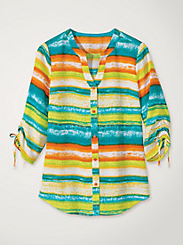 Women's Sheer Ombre Striped Tunic