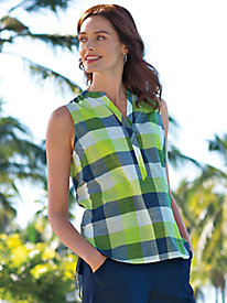 Women's Foxcroft Sleeveless Plaid Shirt