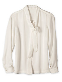 Women's Solid Bow Tie Blouse