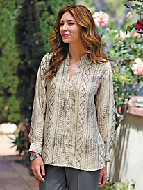 Women's Pewter Print Popover Blouse