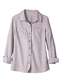 Women's Solid Flannel Long-Sleeved Camp Shirt