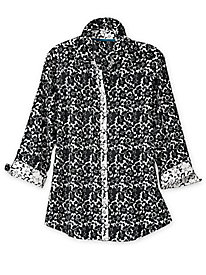 Women's Black-and-White Floral Foxcroft Shirt