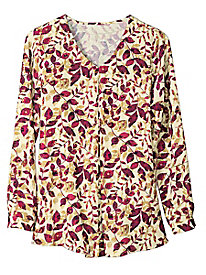 Women's Front-Pleat Print Blouse